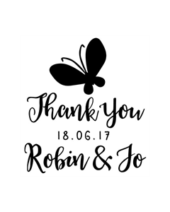 Personalised Laser Rubber Stamp - Butterfly Wedding Thank You