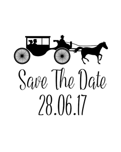 Personalised Laser Rubber Stamp - Save the Date: Horse & Carriage