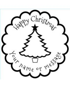 Personalised Christmas Stamp - Christmas Tree - Small (48mm Square)