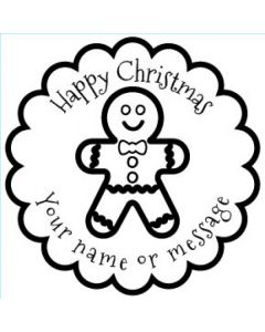 Personalised Christmas Stamp - Gingerbread Man - Small (48mm Square)