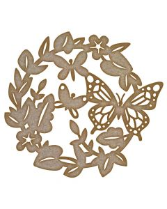 Butterfly Leaf Wreath MDF Laser Cut Craft Blanks in Various Sizes
