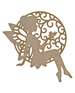 Fairy holding a butterfly MDF Laser Cut Craft Blanks in Various Sizes
