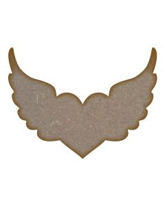 Heart with Wings MDF Laser Cut Craft Blanks in Various Sizes