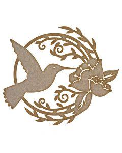 Humming Bird & Flower MDF Laser Cut Craft Blanks in Various Sizes