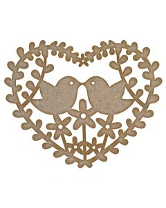 Love Birds Heart Leaves MDF Laser Cut Craft Blanks in Various Sizes