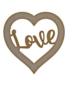 Love Heart Frame MDF Laser Cut Craft Blanks in Various Sizes