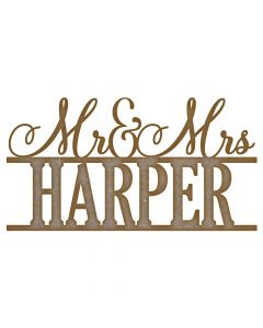 Personalised Mr and Mrs Name MDF Laser Cut Craft Blanks in Various Sizes