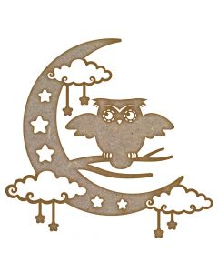 Owl & Moon MDF Laser Cut Craft Blanks in Various Sizes