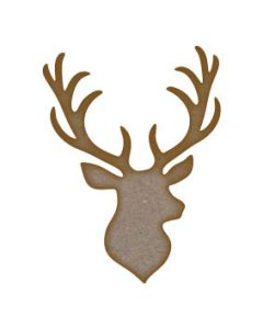 Stag Head (Design 2) MDF Laser Cut Craft Blanks in Various Sizes
