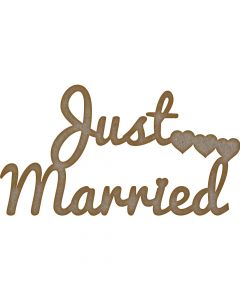 Just Married Words MDF Laser Cut Craft Blanks in Various Sizes