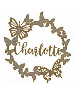 Personalised Butterfly Wreath Name MDF Laser Cut Craft Blanks in Various Sizes