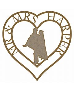 Personalised Wedding Couple Heart MDF Laser Cut Craft Blanks in Various Sizes