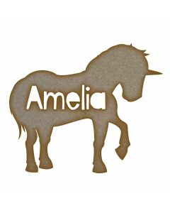 Personalised Unicorn Name MDF Laser Cut Craft Blanks in Various Sizes