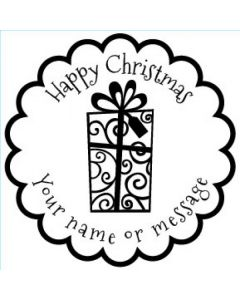Personalised Christmas Stamp - Present - Small (48mm Square)