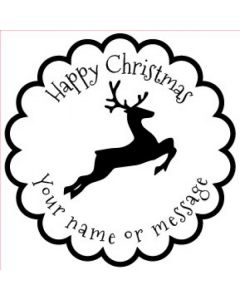 Personalised Christmas Stamp - Reindeer - Small (48mm Square)