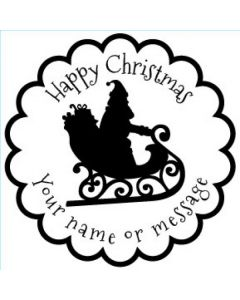 Personalised Christmas Stamp - Santa's Sleigh - Small (48mm Square)