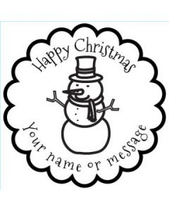 Personalised Christmas Stamp - Snowman - Small (48mm Square)
