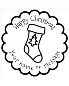 Personalised Christmas Stamp - Christmas Stocking - Small (48mm Square)