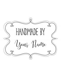 Personalised Handmade By Stamp - Stitched Swirl Frame
