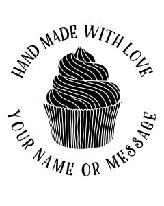 Personalised Handmade By Stamp - Cupcake