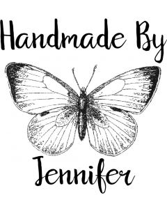 Personalised Handmade By Stamp - Vintage Butterfly