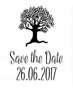 Personalised Laser Rubber Stamp - Save the Date: Tree