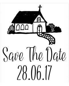 Personalised Laser Rubber Stamp - Save the Date: Church