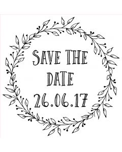 Personalised Laser Rubber Stamp - Save the Date: Ornate Leaves