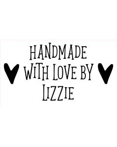 Personalised Laser Rubber Stamp - Handmade By: Heart