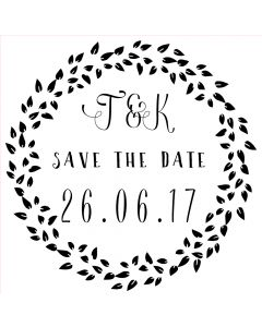 Personalised Laser Rubber Stamp - Save the Date: Scattered Leaves