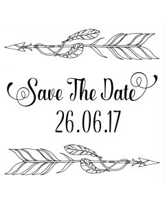 Personalised Laser Rubber Stamp - Save the Date: Feathers