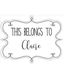 Personalised Laser Rubber Stamp - Belongs to: Stitched Swirl Frame