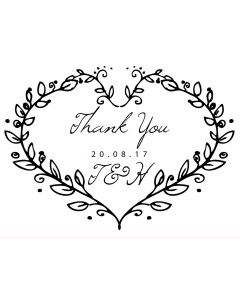 Personalised Laser Rubber Stamp - Wedding Thank You: Heart Vine