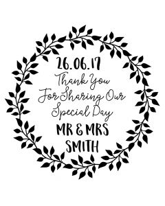 Personalised Laser Rubber Stamp - Wedding Thank You: Leaf Wreath