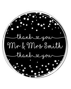 Personalised Laser Rubber Stamp - Wedding Thank You: Dotty