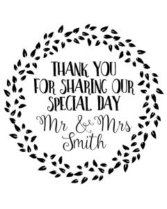 Personalised Laser Rubber Stamp - Wedding Favour: Scattered Leaves
