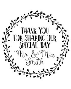 Personalised Laser Rubber Stamp - Wedding Thank You: Foliage