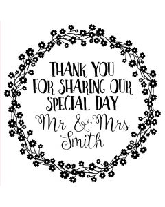 Personalised Laser Rubber Stamp - Wedding Thank You: Daisy Wreath
