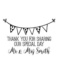 Personalised Laser Rubber Stamp - Wedding Thank You: Bunting