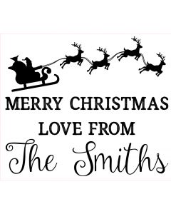 Personalised Laser Rubber Stamp - Merry Christmas: Santa Sleigh