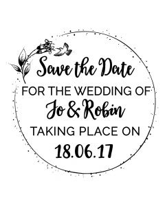 Personalised Laser Rubber Stamp - Humming Bird Wedding Save the Date