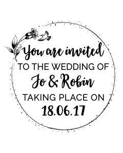 Personalised Laser Rubber Stamp - Humming Bird Wedding Invitation