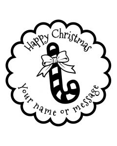 Personalised Christmas Stamp - Candycane - Small (48mm Square)