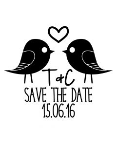 Personalised Wedding Stamp - Save the Date Love Birds