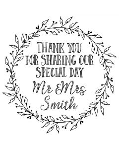 Personalised Laser Rubber Stamp - Wedding Favour Ornate Leaves