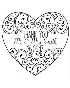 Personalised Laser Rubber Stamp - Wedding Thank You: Ornate Heart