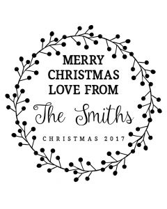 Personalised Laser Rubber Stamp - Merry Christmas: Berries