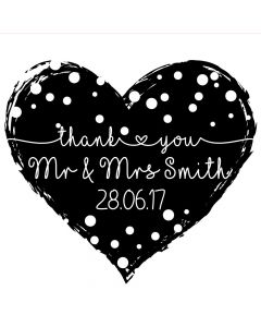 Personalised Laser Rubber Stamp - Wedding Thank You: Dotty Heart