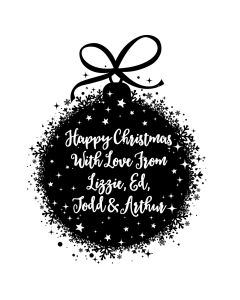 Personalised Laser Rubber Stamp - Christmas - Christmas Bauble