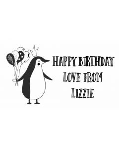 Birthday Penguin - Personalised Laser Cut Rubber Stamp